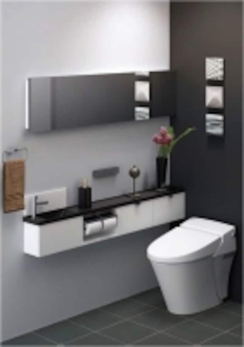 暖房便座、部屋暖房機能もあるトイレ例(出典:LIXIL)