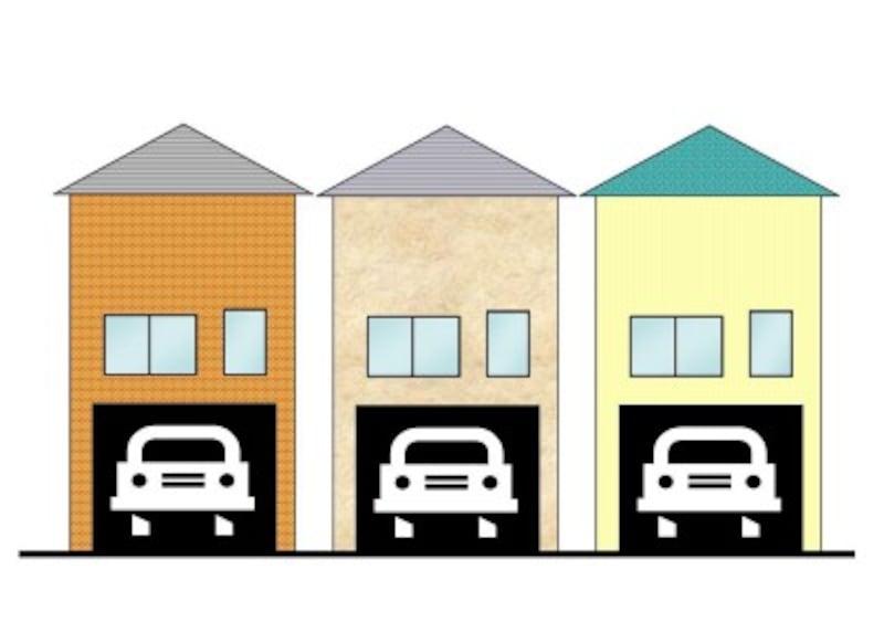 都市型住宅によくみられる狭い間口に駐車場をいっぱいに取っている住宅は要注意