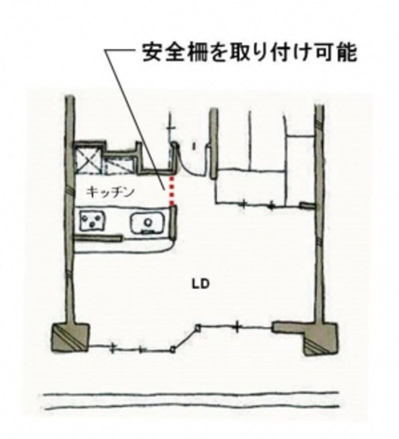 【図3】後付で安全柵を取りつけやすい間取りの例