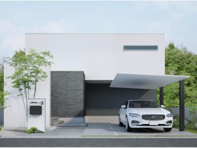 屋根材も含めたすべての部材をシャープなアルミ形材で構成。マットな質感が外観や周囲にも馴染む。[LIXILカーポートSC]undefinedLIXILundefinedhttp://www.lixil.co.jp/