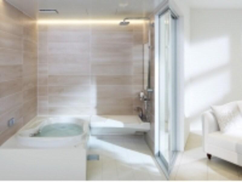 天井からふりそそぐシャワーや打たせ湯、肩湯や静かなジェットバスなど、くつろぎの機能も充実。[SPAGE(スパージュ)]undefinedLIXILundefinedhttp://www.lixil.co.jp/