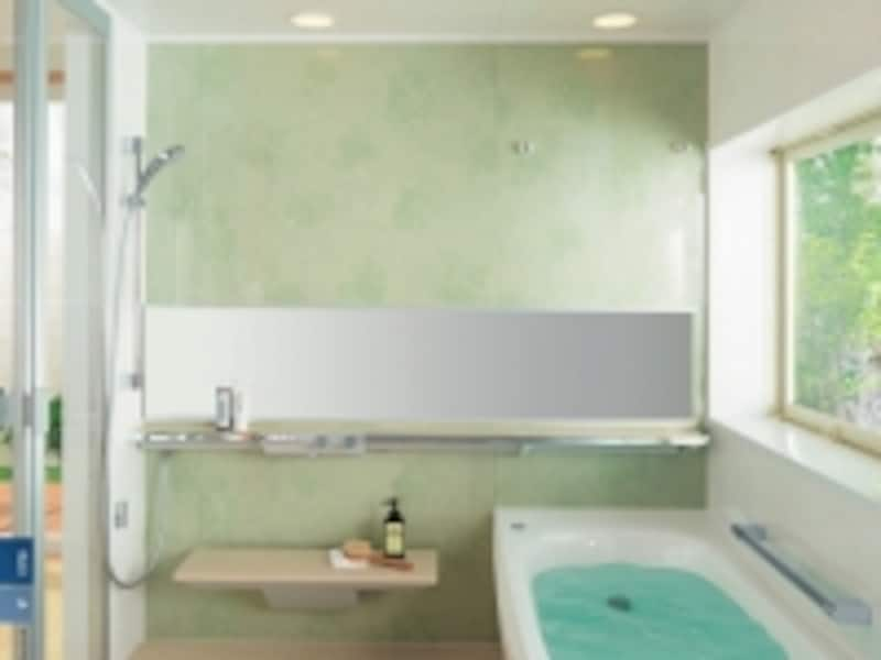 適材適所の手すり配置で移動のしやすさに配慮したバスルーム。[システムバスルームサザナプレミアムHGシリーズ1.25坪サイズAタイプ]undefinedTOTOhttp://www.toto.co.jp/