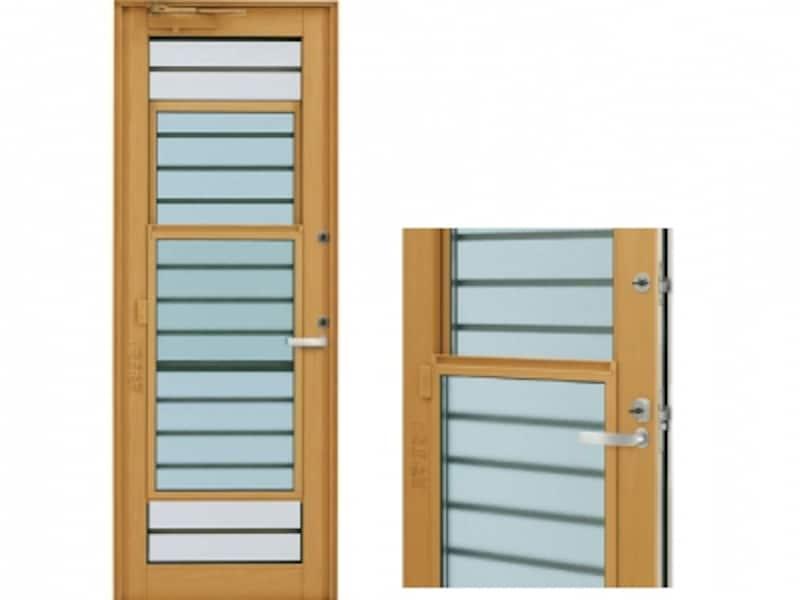 ドアを閉めたまま、上げ下げ障子を開けるだけで換気が可能。防犯面にも配慮。[エピソードNEO通風ドア横格子undefined(右)半開]undefinedYKKAPhttp://www.ykkap.co.jp/