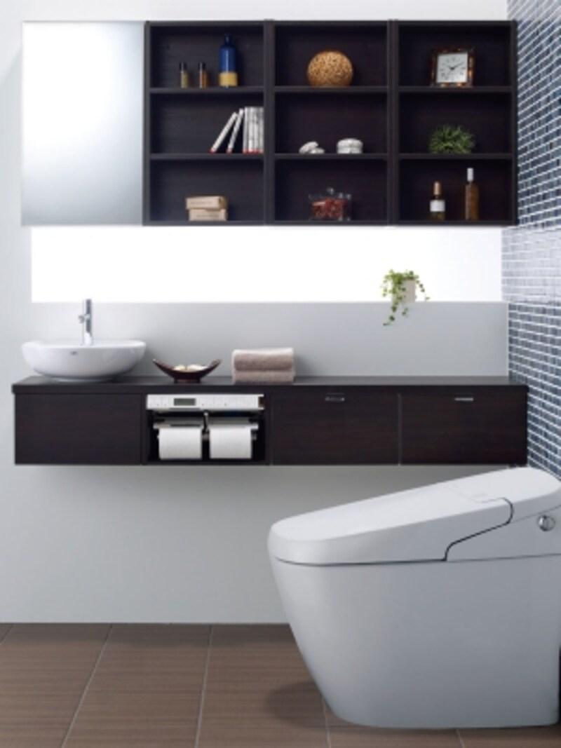 ユニットを組み合わせて好みの空間を実現できるセミオーダー手洗器。フロートキャビネットに据え置きタイプの洗面器を組み合わせて。[INAXキャパシア]undefinedLIXILundefinedhttp://www.lixil.co.jp/