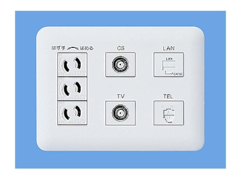 TVやCS、電話やインターネットを利用できるコンセント。1ヵ所からまとめて配線できるのがメリット。[マルチメディアコンセントWTF34155WK]undefinedパナソニックエコソリューションズundefinedhttp://sumai.panasonic.jp/