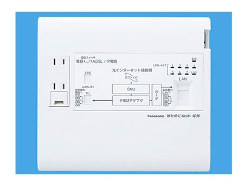 1ギガ(1000M)通信対応の宅内LAN配線を簡単に構築できる。LAN配線も電話配線もスター配線で各部屋のモジュラージャックへ配線するだけ。[WTJ5045Kまとめてネットギガ]undefinedパナソニックエコソリューションズundefinedhttp://sumai.panasonic.jp/