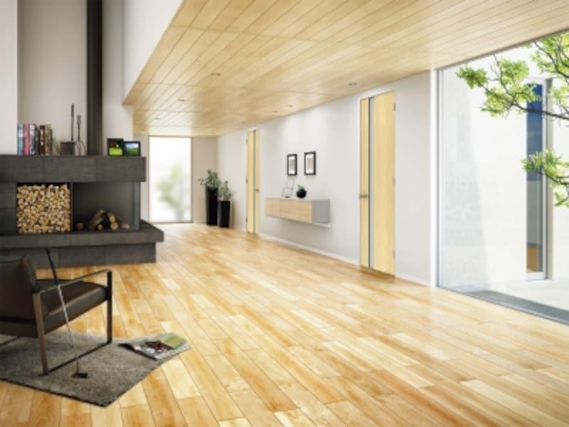 栃はさざ波状の上品な木目が特徴。部分的に天井に用いることで、個性的な空間に。[天井:化粧羽目板日本の樹〈栃〉(とち)]undefinedDAIKENhttps://www.daiken.jp/