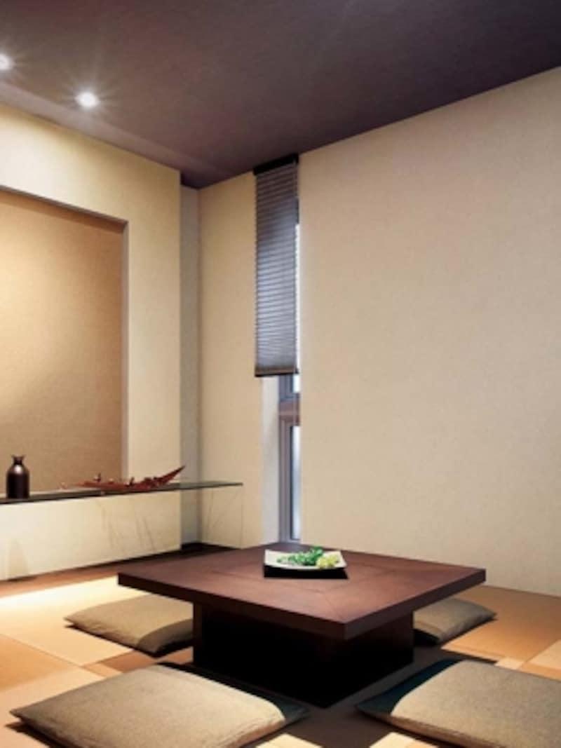 モダンな和室には、色味のあるクロスでまとめても。壁よりも濃い色を合わせて落ち着きを。[SP-2131塩化ビニール系樹脂壁紙]undefinedサンゲツundefinedhttps://www.sangetsu.co.jp/