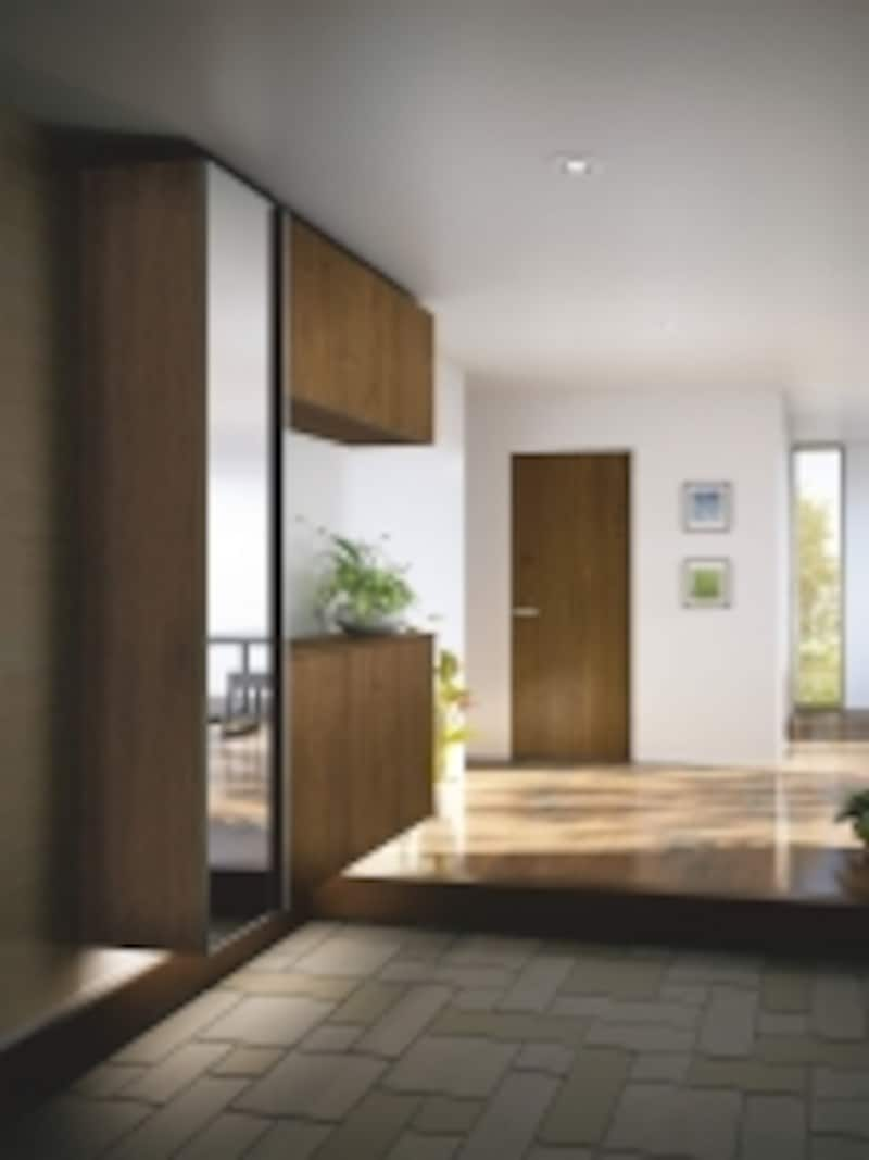 暮らしに適した収納スペースを設けることで美しい玄関まわりを実現できる。[ハピアプレミア]undefinedDAIKENundefinedhttp://www.daiken.jp/