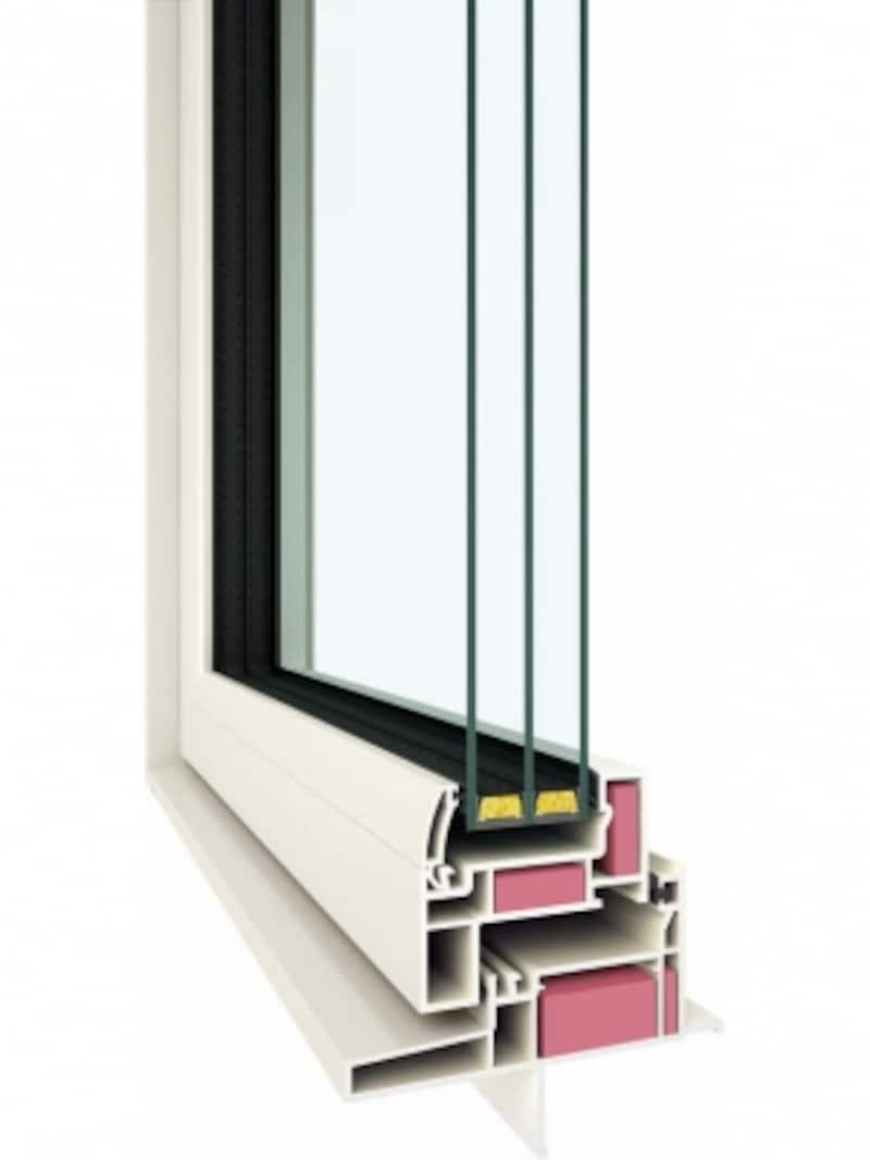 断熱材をプラスし、ワンランク上の断熱性能を実現。高性能トリプルガラス樹脂窓。[APW430+たてすべり出し窓断面図]undefinedundefinedYKKAPhttp://www.ykkap.co.jp/