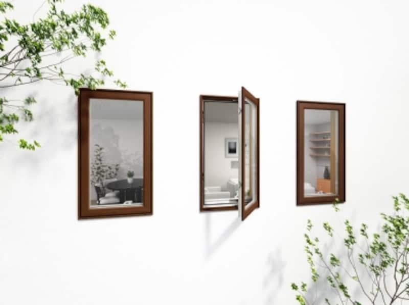 特殊な表面加工により、天然木に近い質感を実現。チークやブラックウォールナット柄が揃う。[APW330木目仕様縦すべりだし窓]undefinedYKKAPhttp://www.ykkap.co.jp/
