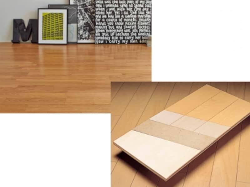 天然木の質感を楽しめる床材。机や椅子による凹みに強く、車椅子でも使用可能。[銘木床チェリー]undefined(右)基材〈環境配慮型合板〉+硬質パワーシート+表面材〈突き板〉+クリア塗装。[銘木床undefined構造]undefinedLIXILundefinedhttp://www.lixil.co.jp/undefined
