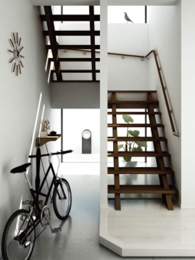 蹴込み板を設けないデザインですっきりと。木質のやさしい雰囲気で統一感のある空間をコーディネート。段鼻部のR形状、ノンスリップ溝の大型化など安全性にも配慮。[階段:ハピアベイシス階段〈ダルブラウン〉|手摺部材:システム手摺35型〈ダルブラウン〉|床材:ハピアフロアベーシックカラー〈ミューズホワイト〉]undefinedDAIKENhttps://www.daiken.jp/