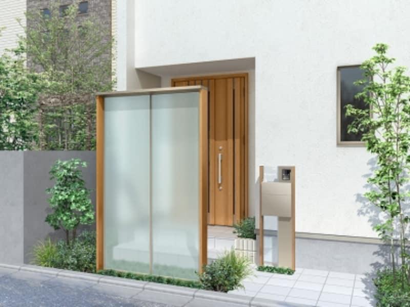 プライバシーを守りつつ、玄関前の内と外をつなぐ空間を有効活用できる。[ダブルエントランス(独立・壁付)undefined独立タイプundefinedスクリーン単独仕様1連]undefinedLIXILundefinedhttp://www.lixil.co.jp/