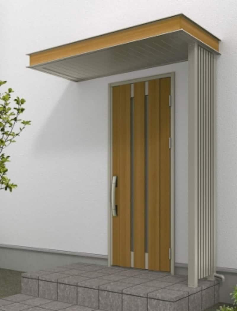 雨天時に、傘をさすことができるスペースを確保。さまざまな納まりにも対応できる、排水構造と雨樋も備えた機能的なひさし。[ルシアスひさしH2軒天パネル:板張り調H2化粧パネル:モダンエッジW7雨樋内構造袖スクリーン]undefinedYKKAPhttp://www.ykkap.co.jp/