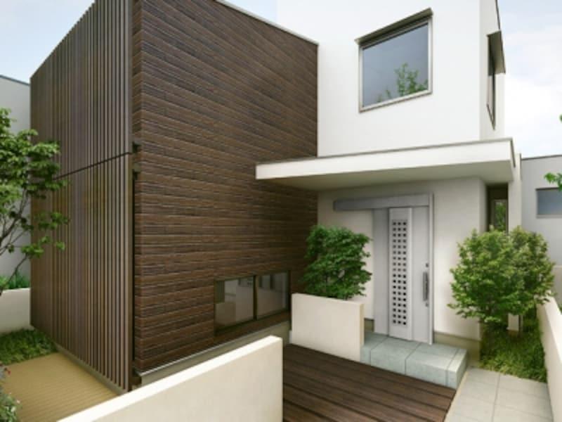 大きめの庇を設けることで、落ち着いた印象を感じるとともに雨の日でも濡れることもない。[玄関扉/TOSTEMエルムーブ(施工例)undefined採風×エルムーブ]undefinedLIXILundefinedhttp://www.lixil.co.jp/