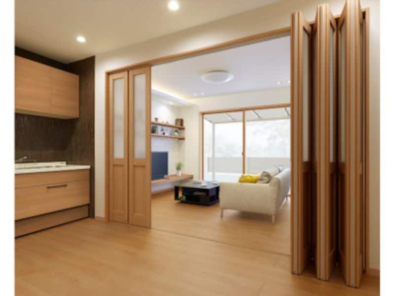 床材と統一感を持たせて空間に広がりを。開閉スペースを使い方に合わせてることができる折れ戸タイプ。[INTERIOラシッサSクリエ 施工例 可動間仕切り 折れ戸タイプ LGA クリエラスク] LIXIL