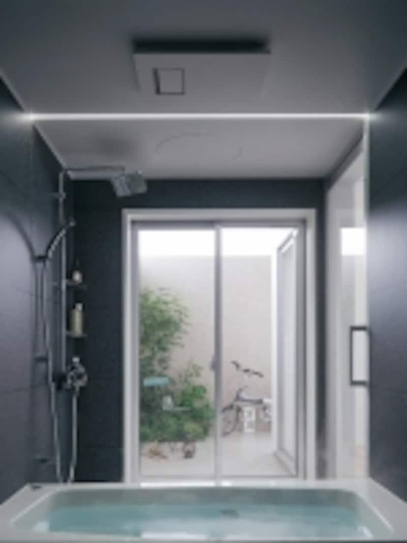 大きな窓を設け、デッキテラスをつなげた開放的なバスルーム。[Lクラスバスルーム]undefinedパナソニックエコソリューションズundefinedhttp://sumai.panasonic.jp/