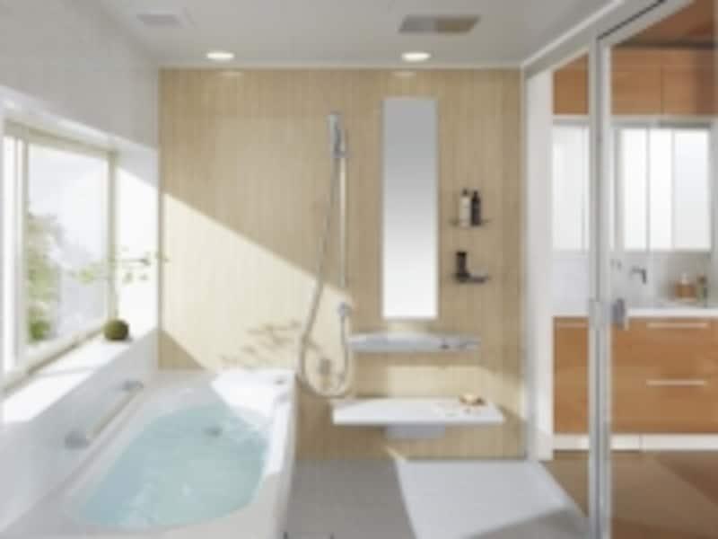 親水パワーの効果で軽くこすれば汚れが落ちる床や表面を炭素の膜で覆った掃除のしやすい鏡、はっ水・はつ油技術で水も皮脂も弾き汚れが付いても簡単落とせるバスタブなど使い勝手を高めたタイプ。[戸建向けシステムバスルームundefinedサザナ]undefinedTOTOundefinedhttp://www.toto.co.jp/