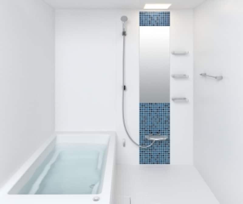 マンションなどの限られた広さの浴室でも、ゆったりとしたバスタイムを実現するマンションリフォーム用。狭い搬入経路でも運びやすい2分割構造を採用。[リノビオVシリーズDタイプ]undefinedLIXILundefinedhttp://www.lixil.co.jp/lineup/