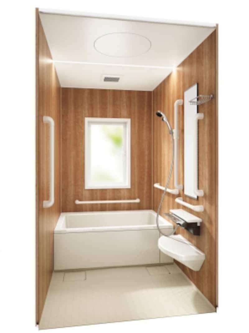 出入りがスムーズに行える浴槽形状、使いやすい手すりなど、サービス付き高齢者向け住宅だけでなく、介護リフォームをされる住宅にも適する。コンパクトなサイズも揃う。[アクアハートa-Uundefined1616]undefinedパナソニックエコソリューションズundefinedhttp://sumai.panasonic.jp/