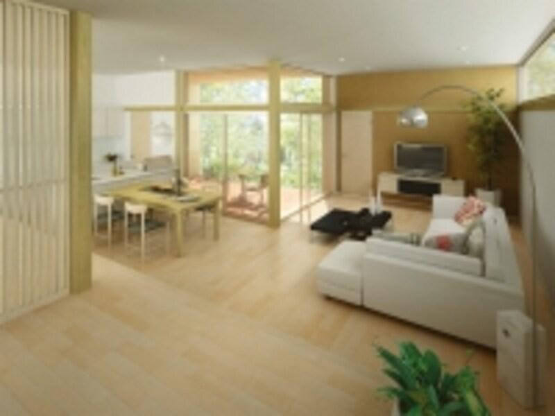 表面化粧に国産材を使用した最高級グレードの床材。日本の樹の持つなめらかさがあたたかみのある空間を演出。[日本の樹〈栃〉]