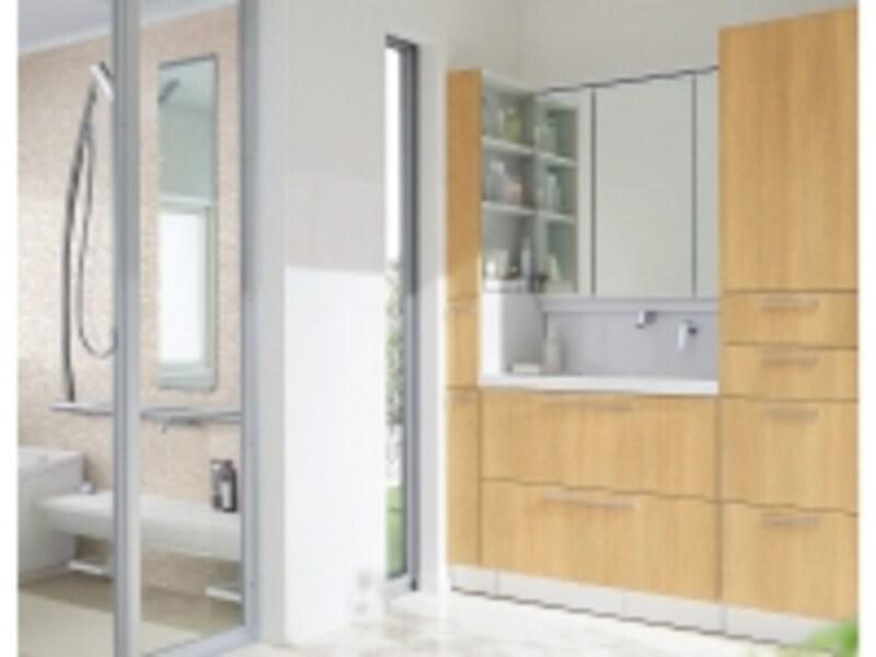 スペースやデザインテイストに合わせて、取り入れることができるすっきりとしたデザインの洗面化粧台。[オクターブ]undefinedTOTOundefinedhttp://www.toto.co.jp/
