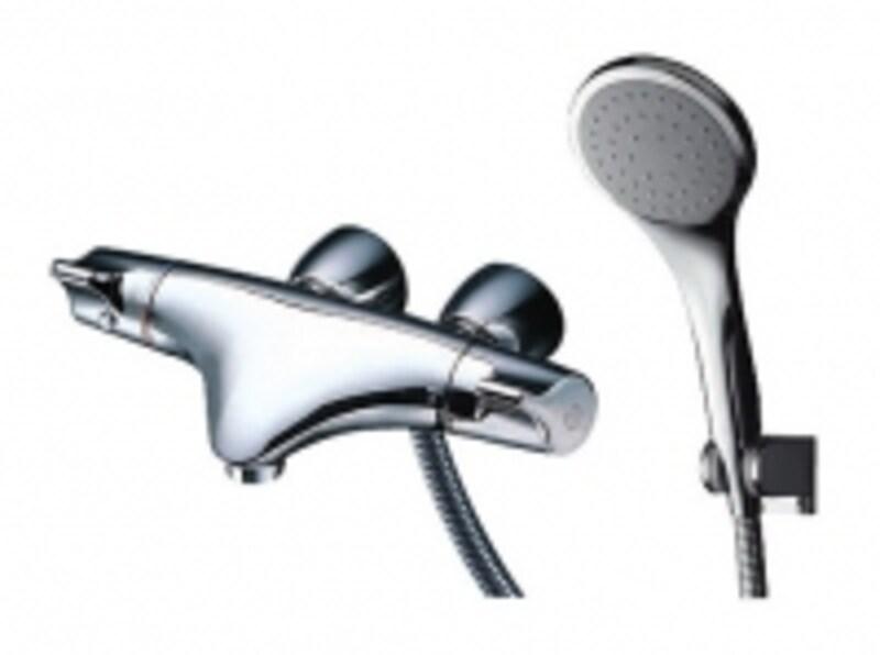 洗い場に用いるタイプのシャワーバス水栓。曲線のデザインが個性的。[ニューウエーブシリーズundefined壁付サーモスタット混合水栓]TOTOundefinedhttp://www.toto.co.jp/