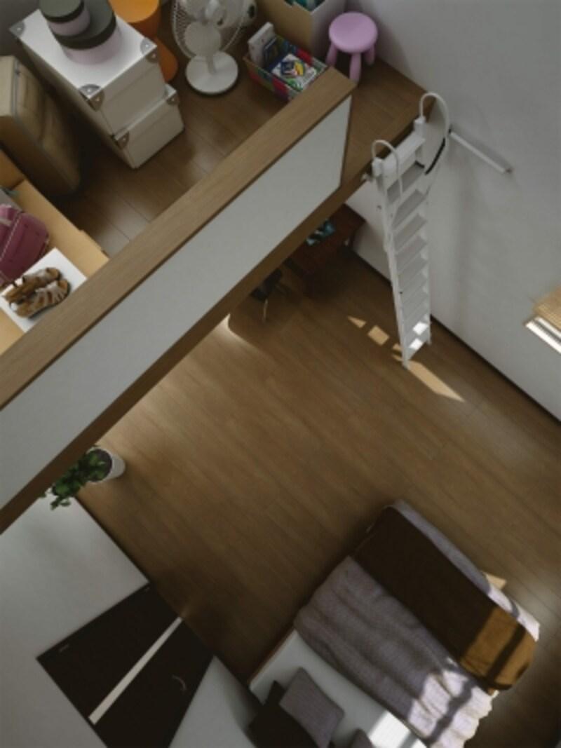 ロフト用のはしごは、使用しないときは壁などに引っ掛けて置くタイプも多い。間取りや使い勝手を考慮して設置を。[はしごundefined手摺付アルミ製ロフトタラップ|床材:ハピアフロアベーシックカラー<カフェブラウン>]undefinedDAIKENhttps://www.daiken.jp/