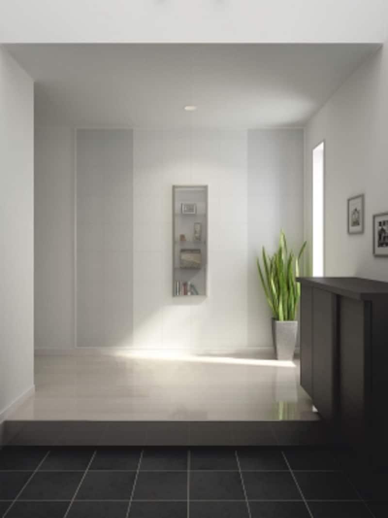 玄関の正面の壁に厚みを利用した見せる収納を。[壁厚収納undefinedカベピタ飾り棚370L〈クリア〉]undefinedDAIKENhttps://www.daiken.jp/