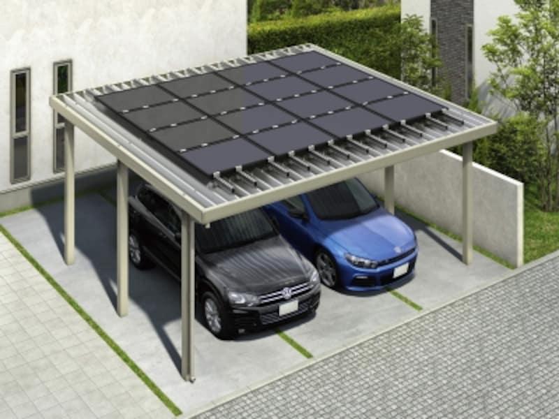 各社のソーラーパネルを搭載可能な、汎用性のあるソーラーパネル搭載用カーポート。[ジーポートneo【ソーラーパネル搭載用】基本セット・2台用H2]YKKAPhttp://www.ykkap.co.jp/