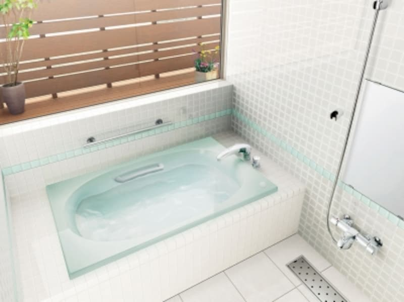 重厚感のある素材感が魅力のポリエステル系人造大理石[シャイントーン浴槽1200サイズ和洋折衷タイプ]undefinedLIXILundefinedhttp://www.lixil.co.jp/