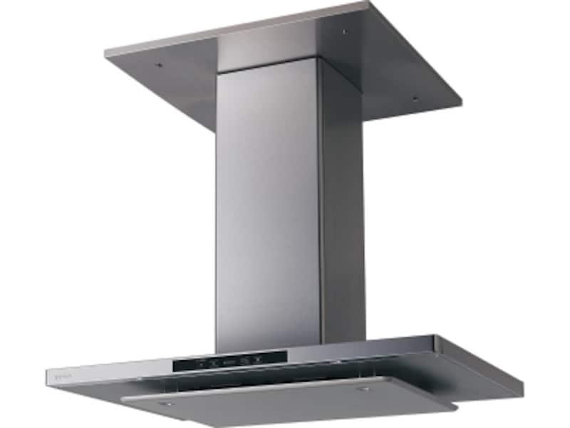 ファンを天井裏に設置することで低騒音化を実現。ダクトのデザインもすっきりとスリムな印象に。フードに4灯の照明(温白色LED)を前後に配置。[静音スリムフードシロッコファン]undefinedパナソニックエコソリューションズundefinedhttp://sumai.panasonic.jp/