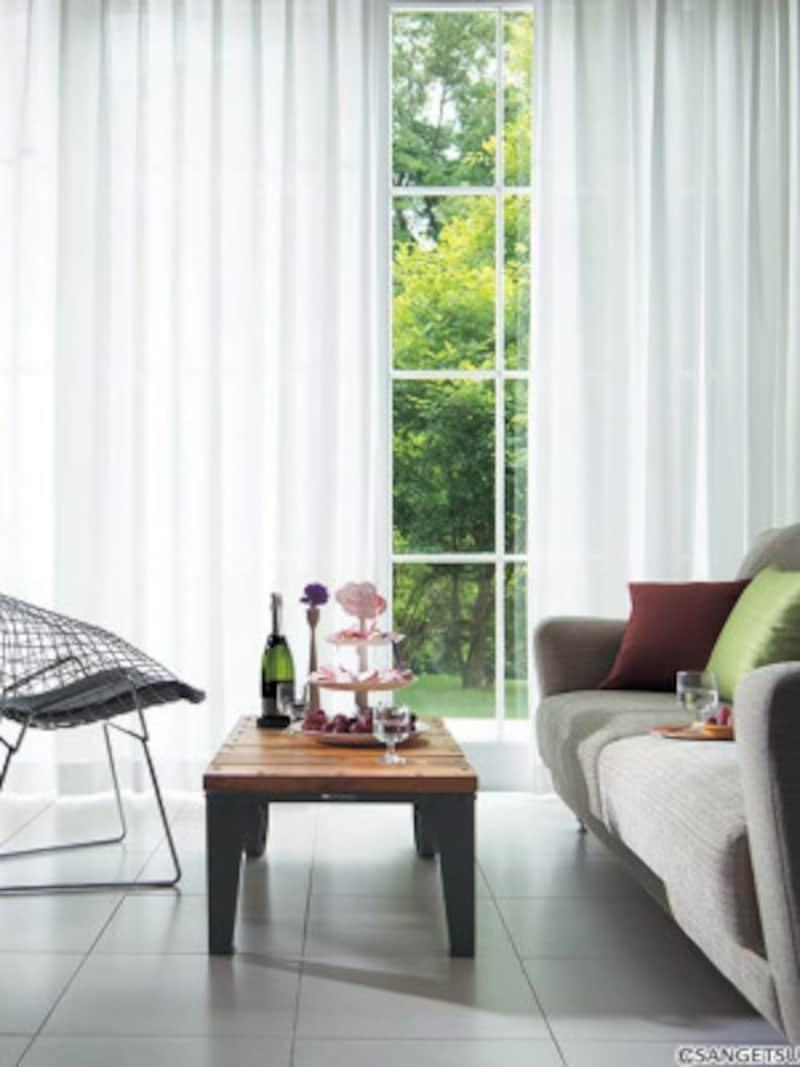 遮熱性、UVカット、ウォッシャブル、防炎、ミラー、制菌性などさまざまな機能を持つレースカーテン。[AC6474] サンゲツ
