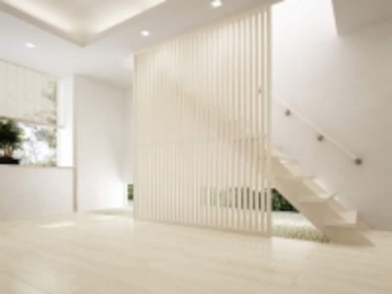 内装材と同時に階段や室内間仕切建具なども検討したい。undefined[ハピアベイシス階段/ハピアフロア<ミューズホワイト>undefined手摺部材:システム手摺35型/格子間仕切:ハピアベイシス<ネオホワイト>]DAIKENhttp://www.daiken.jp/