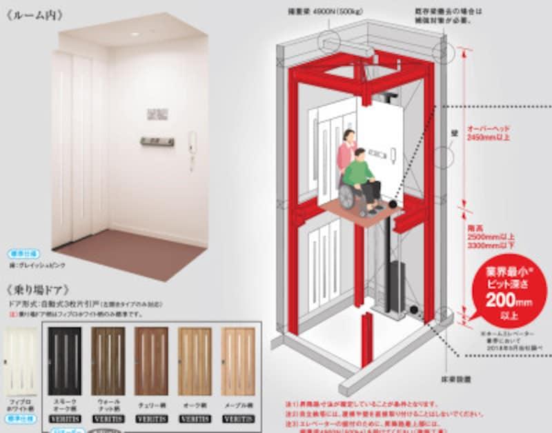2階建て住宅のリフォームに適するモデル。建物と切り離して設置する自立鉄塔タイプなので、建物に負荷をかけない。[ホームエレベーター1214ジョイモダンS200VT油圧式] パナソニック