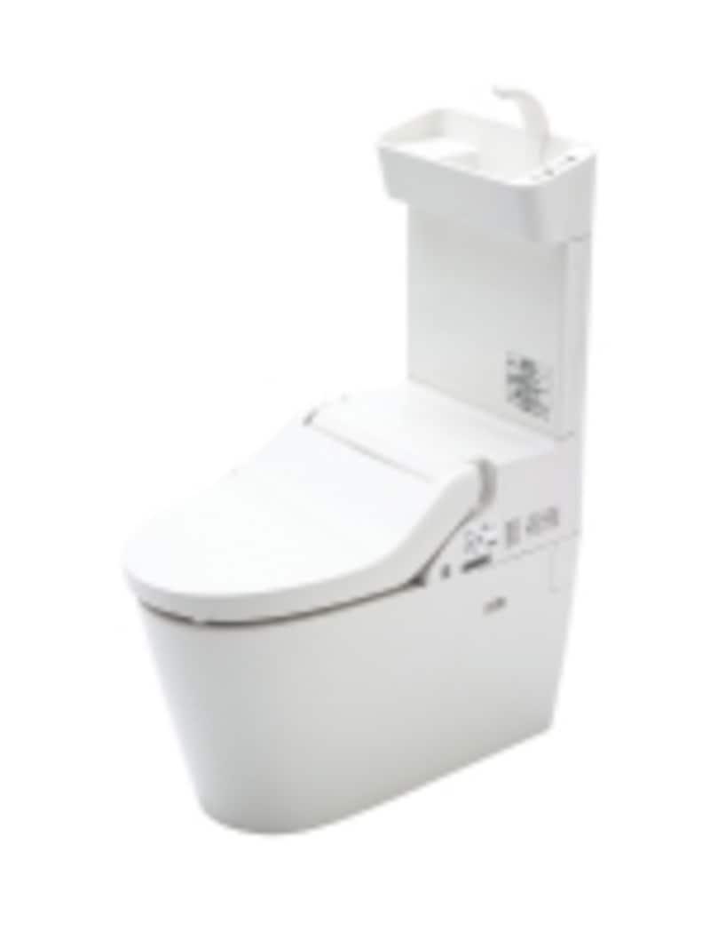 汚れの入る隙間を少なくした本体、便座を簡単に取り外すことができお手入れも楽に。タンクレストイレと手洗いを一体化。使い勝手や掃除のしやすさに配慮した手洗いをタンクレストイレの背面に設けたタイプ。[NewアラウーノVundefined手洗い付]http://sumai.panasonic.jp/