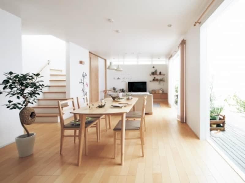 温水パイプを床材に内蔵した、仕上げ材一体型の温水床暖房。仕上げ材は、2商品12色柄から選ぶことができる。[仕上げ材一体型の温水床暖房undefinedYou温すいundefined床材ジョイハードフロアーナチュラルウッドタイプ]undefinedパナソニックエコソリューションズundefinedhttp://sumai.panasonic.jp/