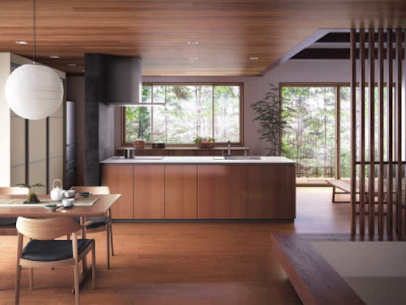 和の雰囲気も感じる落ち着いたキッチン。ダイニングやリビング、畳スペースとの動線も動きやすい。[ザ・クラッソ] TOTO https://jp.toto.com/