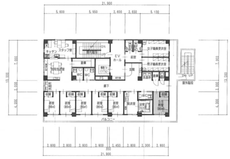〈平面図〉柱や壁、開口部の位置、建具の開き勝手、階段や家具の位置、寸法が示される。