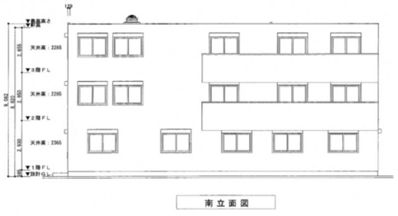 〈立面図〉東西南北4方向から見た建物の外面図。配置図や平面図が上から見た図面になっているのに対し、横から見た図面となる。