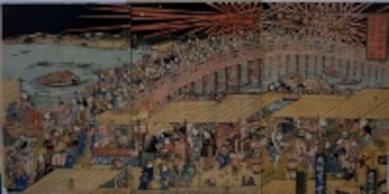 江戸東京博物館蔵undefined歌川国虎/画undefined江戸両国橋夕涼大花火之図undefined