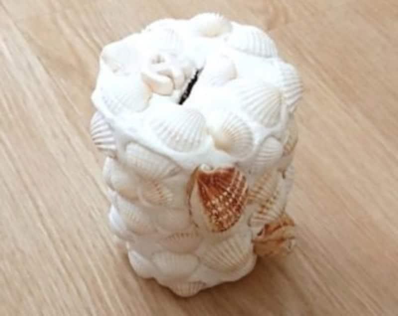 貝殻工作紙粘土貯金箱