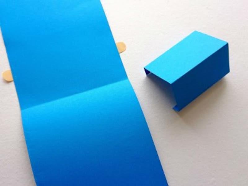 父の日手作りプレゼントポップアップカードの感謝状が飛び出すように同じ色の画用紙で飛び出す部分を作る