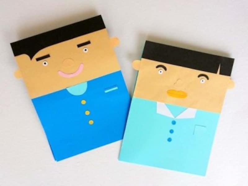 父の日手作りプレゼント製作お父さんの似顔絵ポップアップカード