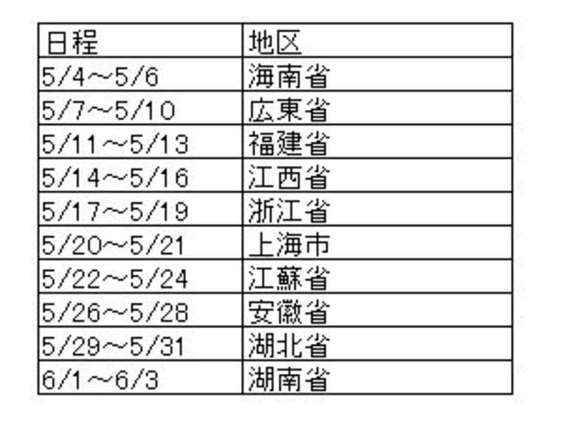 国内ルートスケジュール(1)