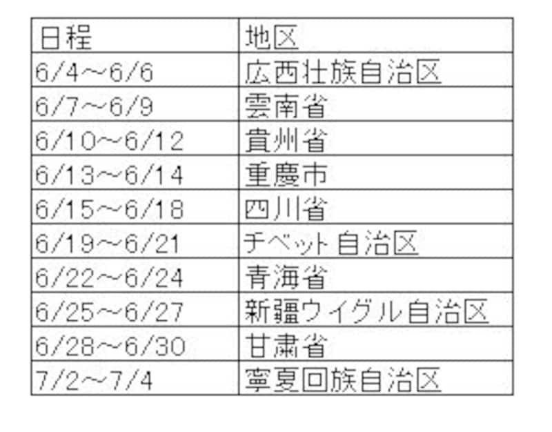 国内ルートスケジュール(2)