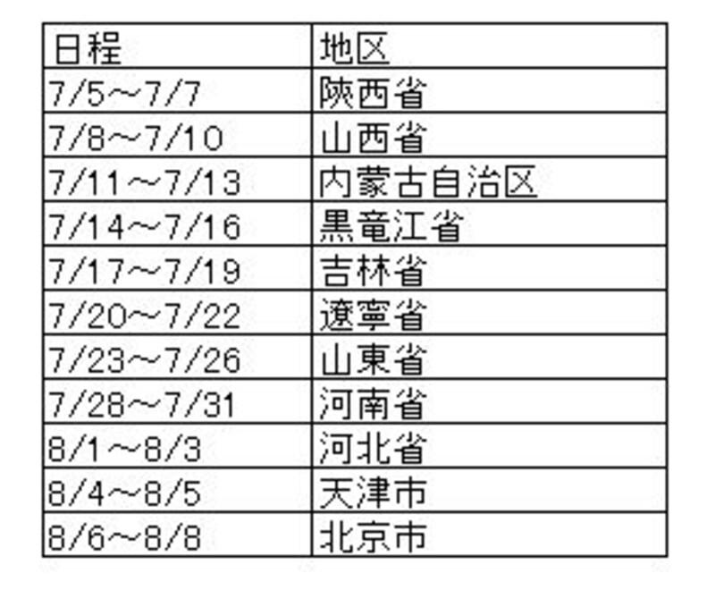 国内ルートスケジュール(3)