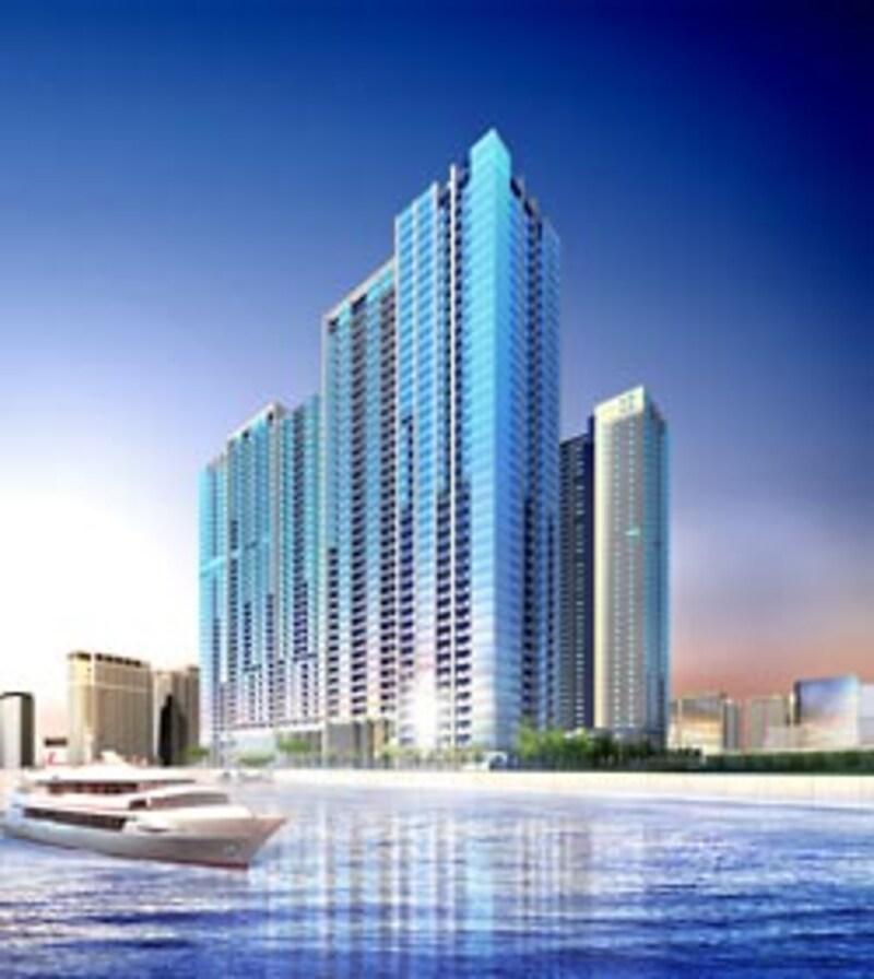 WORLD CITY TOWERSの完成予想図。タワーマンションとしては一般的な塔状ではなく板状の建物による3棟構成となっており、中庭を広くとることでどの棟からも眺望が開けるよう配棟を工夫している