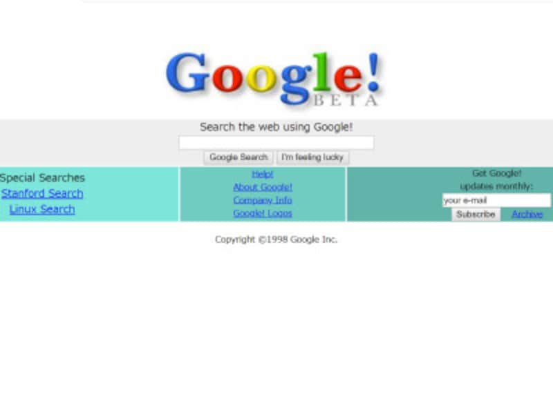 1998年当時のGoogle